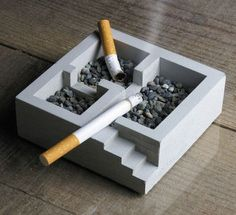 """This cute """"KISO"""" ashtray is made completely from concrete, It is divided into 3 rooms, giving heavy smokers more choices of space to smoke (even by the stairs! Individually hand made in japan by Nobuhiro Sato. Concrete Crafts, Concrete Art, Concrete Projects, Diy Projects, Concrete Casting, Concrete Steps, Cement Design, Beton Design, Modern Style Homes"""