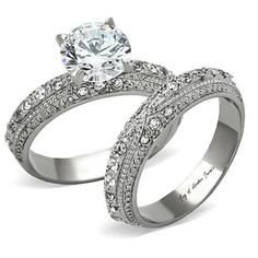 Antique Style Perfect 2CT Round Cut Russian Lab Diamond Micro Pave Wedding Bridal Set Ring - Joy of London Jewels