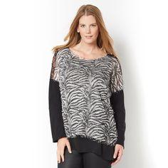 Camisola bimatéria, motivo zebra, escapulário em renda, mangas em tricot, Taillissime | La Redoute