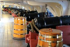 Uss Constitution's Gun Deck - imagine it without the electric lights. Uss Constitution Model, Barbary Wars, Loose Lips Sink Ships, Master And Commander, Ship Of The Line, Man Of War, Navy Aircraft, Wooden Ship, Navy Ships