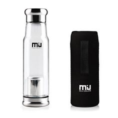 miu color glass water bottle bpafree bottle with infuser and nylon sleeve 18 ounce black