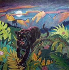 not-really-black panther. design reproduced from unknown source. pencil crayons on plywood. 1m x 1m