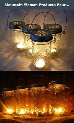 Mountain Woman Products Four Glass Quilted Mason Jar Lanterns Candle Holder Outdoor Lighting. Add a little romance to your life with these clear glass lanterns made with quilted 12 oz mason jars. We've added bronzed daisy lids, wraps and handles so you can hang your light anywhere you like. ***Add your own tea light or votive for a funky patterned glow. Or pebbles, marbles, or fresh flowers.colored marbles. You can add soil and your favorite plants or herbs. The possibilities are endless....