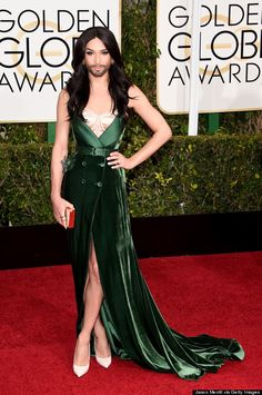 Eurovision-Winning Drag Queen Conchita Wurst Has Arrived at the Golden Globes, Everyone Golden Globe Award, Golden Globes, Celebrity Dresses, Celebrity Style, Lgbt Celebrities, Celebs, Eurovision Song Contest, Bearded Lady, Androgynous Fashion