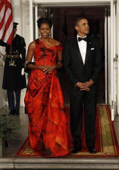 Michelle Obama at a 2010 State Dinner - Alexander McQueen