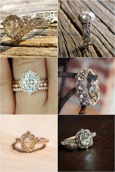 Vintage inspired wedding engagement rings #weddingrings #engagementrings