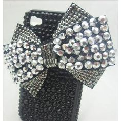 Amazon.com: Silver & Black HUGE 3d Bowknot Handmade Crystal & Rhinestone Iphone 4 case/cover by Jersey Bling: Cell Phones & Accessories