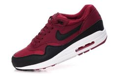 innovative design c4873 1f52f AI485 Nike Air Max 1 Herren Laufschuh Maroon   Black-White