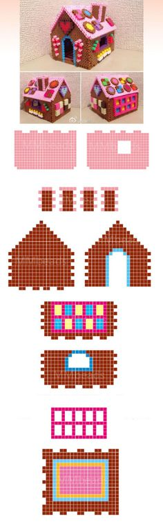 Gingerbread house from hama beads Christmas Perler Beads, 3d Christmas, Christmas Gingerbread, Diy Perler Beads, Perler Bead Art, Pearler Bead Patterns, Perler Patterns, Quilt Patterns, Hama Pokemon