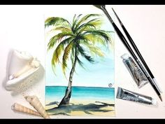 EASY Watercolor REAL TIME Palm Tree Painting Demonstration