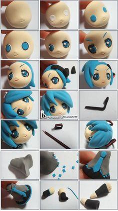 "Turorial : How to make ""Hatsune Miku"" of Vocaloid polymer clay / Tutoriel : Réaliser ""HAtsune Miku"" de Vocaloid en pâte polymère"