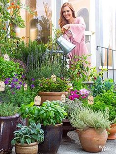 She plays a political gladiator on Scandal, but theres nothing scandalous about the way Darby Stanchfield spends her off-set hours. Youll find her gardening around her Los Angeles home and loving every minute of it. She plays a political gladiat Herb Garden Design, Garden Pots, Herb Pots, Potted Garden, Herbs Garden, Potted Herb Gardens, Balcony Herb Gardens, Herb Garden Planter, Cottage Garden Design