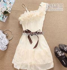 New Women lady girls lovely lace sweet Pleated chiffon Dress
