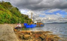 壁紙をダウンロードする 海, 漁船, pierce, インチ島, アイルランド