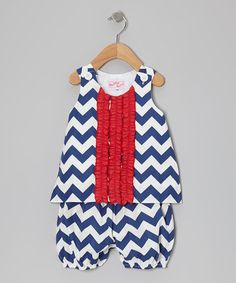 Take a look at this Navy Blue Zigzag Tank & Bloomers - Infant by RuffleGirl on #zulily today!
