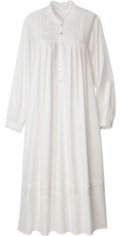 Eileen West Splendor Gown is beautifully adorned with embroidered flowers at the shoulder yoke, cuffs and hem. Sleep in elegance with this breathable cotton nightgown. Mango, White Lace Blouse, White Chiffon, Sheer Chiffon, Chiffon Shirt, Lace Sleeves, Bell Sleeves, Vintage Tops, Night Gown