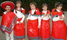 disfraz de mexicano para escolares con bolsa de plástico