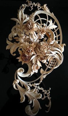Master Wood Carver Alexander Grabovetskiy ~ Flowers bouquet hand carved