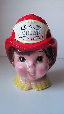 Vintage Fire Chief Figural Ceramic Headvase E O Brody Co Lady Head Vase Planter  