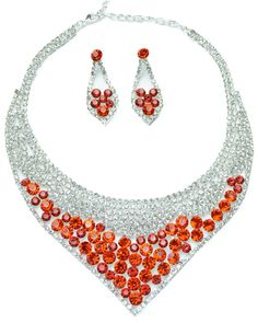Red/Silver Diamante Necklace with Earrings - Womens Jewellery - Womens Accessories