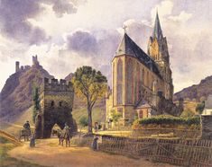 German artist Jakob Alt. Landscape - Schonburg Castle and Church of Our Lady in Oberwesel on the Rhine