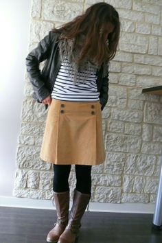 Boots . Tights . Stripes . Pleated Skirt . Jacket . Scarf . Creative Unique Fashion