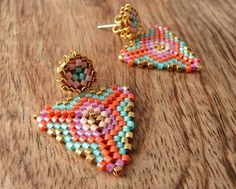 Items similar to Gold Stud Earrings with Geometric Pattern in Orange Aqua Pink. Bright color statement earrings beaded gift girl custom bridesmaid jewelry on Etsy Seed Bead Earrings, Beaded Earrings, Earrings Handmade, Beaded Jewelry, Crochet Earrings, Beaded Bracelets, Stud Earrings, Statement Earrings, Seed Beads