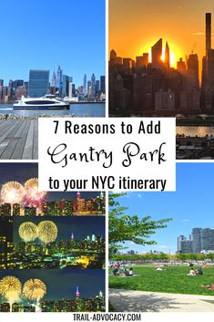 Gantry Plaza State Park in Hunters Point, Long Island City, Queens is an oasis with gorgeous NYC skyline views. You have tons of space to picnic, workout, play, or just relax amongst the flowers and curated bushes. Plus there's great food and drink in the area! Don't miss out on this must-see in NYC. #nyc #travel #usa #unitedstates #newyorkcity #newyork Visit New York City, New York City Travel, Usa Travel, Travel Tips, Nyc Itinerary, Usa Cities, Nyc Skyline, Long Island City, Plan Your Trip