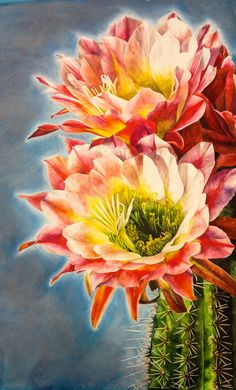 Cactus Bloom Watercolor Print by LittleApplesArt on Etsy, $15.00