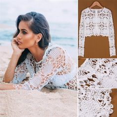 New Ladies Women Casual Lace Hollow Out Crochet Beach Cover Up Knit Crop Top Blouse