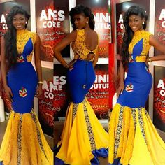 Creative Ankara Yellow and Blue Gown Style . Creative Ankara Yellow and Blue Gown Style African Prom Dresses, African Dresses For Women, African Attire, African Fashion Dresses, African Wear, African Women, Ghanaian Fashion, African Inspired Fashion, African Print Fashion