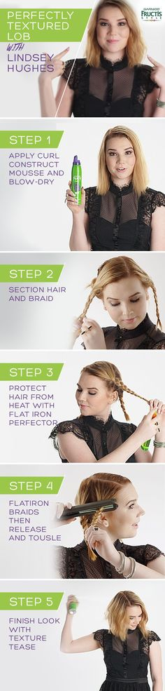 The most requested hair tutorial - the textured lob!  Watch how Lindsay Hughes styles her perfectly messy blonde bob with a few braids and a flatiron.