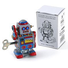 Mini Robot Wind Up Walking Tin Toy $9 sharp edges | Nostalgic Toys and Collectibles | RetroPlanet.com