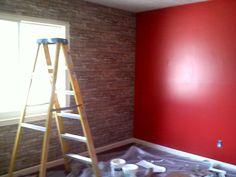 Red wall and brick / stone wall / wallpaper. Stone Wall, Red Walls, Wall Wallpaper, Brick Tile Wall, Brick Tiles, Redecorating, Brick And Stone, Home Decor, Renovations