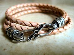 Natural Braided Leather Triple Wrap Bracelet with S Hook Clasp   by LeatherDiva, $32.00
