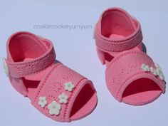 1 3d edible PAIR BABY SHOES sandles cake decoration topper princess prince baby shower christening baptism naming wedding birthday by cookiecookieyumyum on Etsy