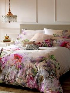 £85. Part of the Go To Bed with Ted collection. Renowned for his beautiful floral prints, Ted's Pure Peony blends lavish blooms with a nude colour palette to create a romantic aesthetic with a nostalgic and dreamy feel. 220 thread count. Also available - matching cushion (6CXV7) and pillowcase pair (6CXV6).