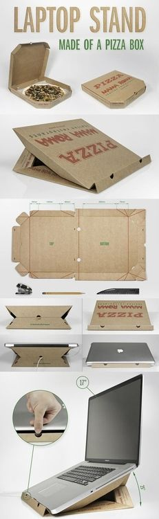 I always enjoy coming across reuse ideas on sites where I don't expect to find such things … like Buzzfeed! But this post about what to do with pizza boxes is pretty cool:     So you can't recycle them and they don't fit in your trash can. Earn a few extra karma points with the earth by making these practical projects.    Here they are: 15 Awesome Things You Can Make With A Stupid Pizza Box