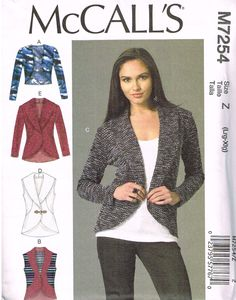 McCall's M7254, Sewing Pattern, Misses' Cardigans, Size Xsm, Sml, Med by OhSewWorthIt on Etsy
