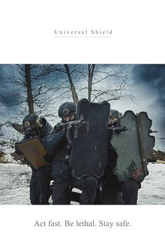 Universal Shield Promo (my design) Tactical Training, Tactical Gear, Airsoft, Police Gear, Combat Armor, Survival Life Hacks, Tac Gear, Concept Weapons, Military Pictures
