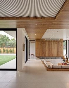 G.A.B.B.E Studio | Melbourne, Australia | Brighton Escape House - Sunken living room with and über groovy timber slat ceiling.