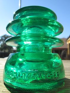 Hemingray 56 7 UP Candy Green Glass Insulator Stained / Colored CD 203 T.W.