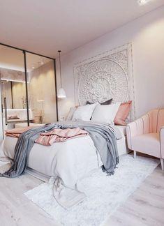 blush pink, white and grey pretty bedroom via ivoryandnoir on Instagram