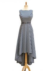 Plaid Maxi-Dress 1-272 in Blue, for a big bust