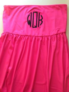 Monogrammed Swimsuit Cover-up Solid Pink  S/M by TheSouthernPeach