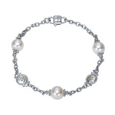 925 Silver/18k Yellow Gold Pearl Chain Bracelet angle 1