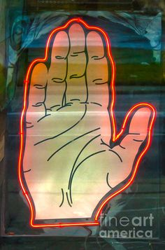 Neon Palm Reader by Gregory Dyer Fine Art Prints, Framed Prints, Canvas Prints, Palm Reading, Traditional Paintings, Neon Lighting, Vintage Signs, Digital Art, Graphic Design