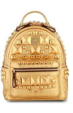 MCM Studded Metallic Gold Leather Backpack