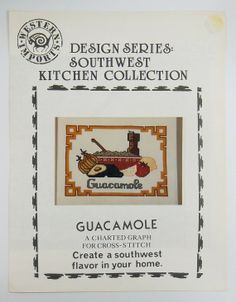 Guacamole Vintage Southwest Cross Stitch Pattern by by wiggelhevin, $3.99
