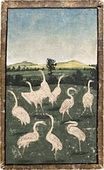 Ambras Court Playing Cards - 9 of Herons, c.1440-1445